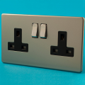 Varilight 2 Gang 13 Amp Switched Plug Socket Screwless Satin Chrome Dec Switch Black Insert XDN5BS
